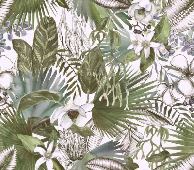 Fototapeta Tropical black and white print with watercolor color spots. Tropical background with flowers and leaves.