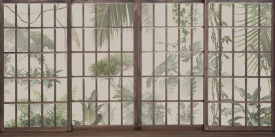 Fototapeta Tropical botanical garden outside the window. Jungle behind panoramic windows. Great choise for wallpaper, photo wallpaper, murals, cards, postcards. Design for modern and loft interiors.