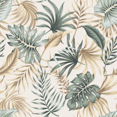 Fototapeta Tropical floral foliage palm leaves seamless pattern beige background. Exotic jungle wallpaper.