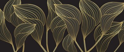 Fototapeta Tropical leaves background vector with golden line art texture.  Luxury wallpaper design for prints, poster, cover, invitation, packaging design background, wall art and home decoration.