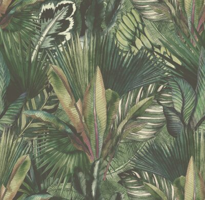 Fototapeta Tropical leaves hand-drawn by watercolor. Seamless tropical pattern. Stock illustration