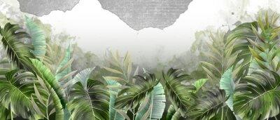 Fototapeta tropical leaves on the background wall, photo wallpaper