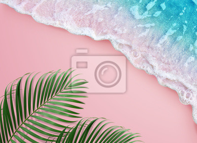 Fototapeta tropical palm leaf and soft blue wave on pink background