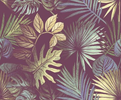 Fototapeta Tropical pattern painted with shiny paints.  rose gold tropical leafs