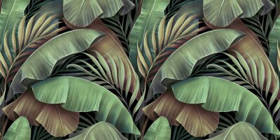 Fototapeta Tropical seamless pattern with beautiful palm, banana leaves. Hand-drawn vintage 3D illustration. Glamorous exotic abstract background design. Good for luxury wallpapers, cloth, fabric printing, goods