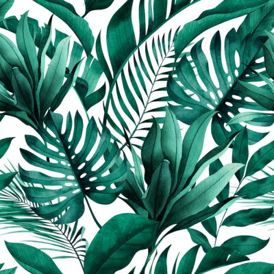 Fototapeta Tropical seamless pattern with exotic monstera, banana and palm leaves on white background.