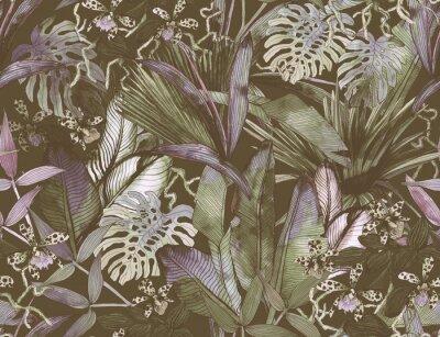 Fototapeta Tropical seamless pattern with tropical flowers, banana leaves.