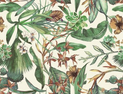 Fototapeta Tropical seamless pattern with tropical flowers, banana leaves. Painted in watercolor on a white background.