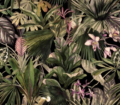 Fototapeta Tropical seamless pattern with tropical flowers, banana leaves. Round palm leaves, watercolor painted orchids.