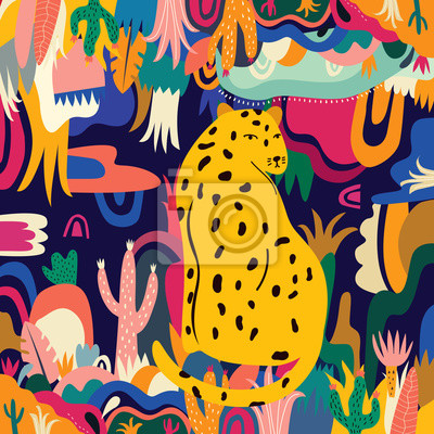 Tropical vector colorful illustration with leopard, flowers, leaves.