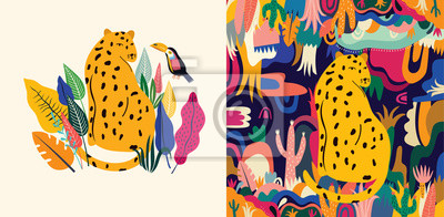 Fototapeta Tropical vector colorful illustration with leopard, flowers, leaves and toucan.