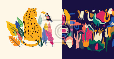 Fototapeta Tropical vector colorful illustration with leopard, flowers, toucan.