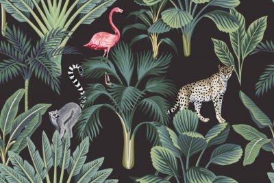 Fototapeta Tropical vintage wild animals, flamingo, palm trees, banana tree floral seamless pattern dark background. Exotic botanical jungle wallpaper.