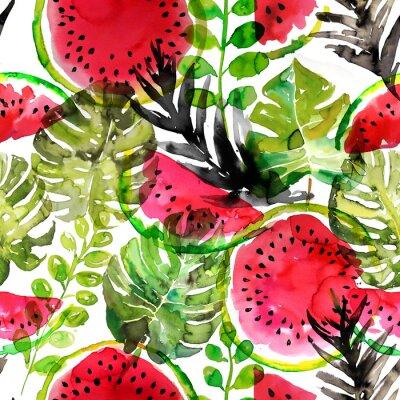 Fototapeta Tropikalna arbuz i liści palmowych wzorek bez szwu. Malarstwo akwarelowe