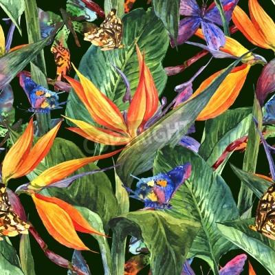 Fototapeta Tropikalna bez szwu deseń z egzotycznych kwiatów