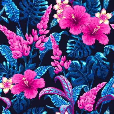 Fototapeta Tropikalna bez szwu deseń z liści palmowych.