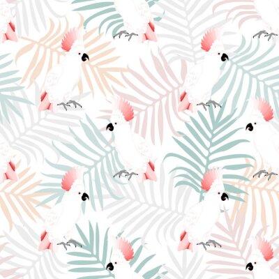 Fototapeta Tropikalna bez szwu deseń z papugami piękności i leafs.Summer wektor egzotycznych background.Textile tekstury