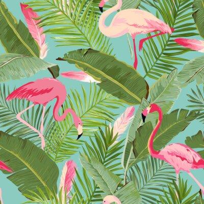 Fototapeta Tropikalna bezszwowych wektorowe Flamingo i Floral Letnich wzorca. Tapeta, Tła, Tekstury, Tekstylia, Karty.