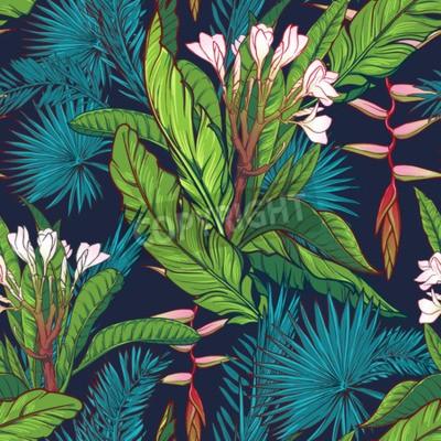 Fototapeta Tropikalna dżungla. Palma i liści bananów, frangipani i heliconia kwiaty na ciemnoniebieskim tle. Bezszwowe wzór z Nieregularne rozmieszczenie elementów. Ilustracja wektora EPS10.