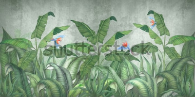 Fototapeta Tropikalna dżungla z latającymi papugami. Na tle tynku strukturalnego.