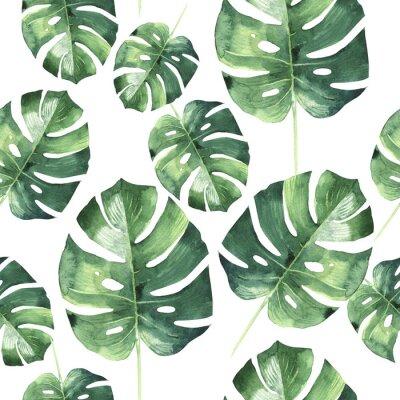 Fototapeta Tropikalna Hawaje pozostawia dłoni deseń w stylu akwarela izolowane.