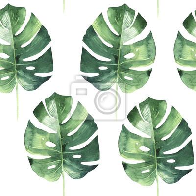 Tropikalna Hawaje pozostawia dłoni deseń w stylu akwarela izolowane.
