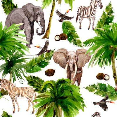 Fototapeta Tropikalna Hawajów pozostawia Palma drzewa deseń w stylu akwarela. Aquarelle dzikiego kwiatu na tle, tekstury, wzór opakowania, ramki lub obramowania.