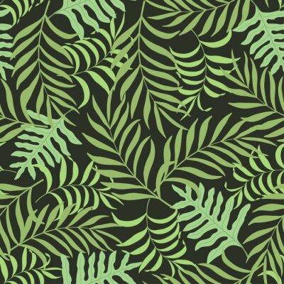 Fototapeta Tropikalna tła z liśćmi palmowymi. Jednolite kwiatowy wzór