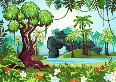 Fototapeta Tropikalne drewno, las dżungli z palmami i rzeką
