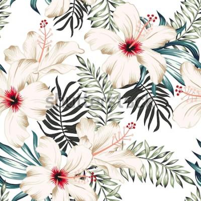 Fototapeta Tropikalne kwiaty hibiskusa i liście palmowe bukiety, białe tło. Wektor wzór Ilustracja liści dżungli. Rośliny egzotyczne. Kwiatowy wzór letniej plaży. Rajska natura
