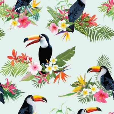 Fototapeta Tropikalne Kwiaty i Tukany Ptaki Bezszwowych Tła. Retro Lato Wzorzec w Wektor