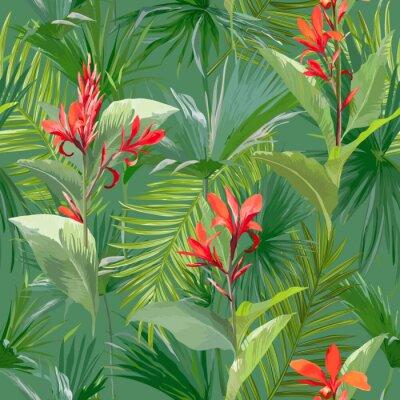 Fototapeta Tropikalne liści palmowych i kwiaty, dżungli liści Bezszwowych tła kwiatu wzorek