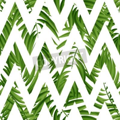 Fototapeta Tropikalne liści palmowych. Tropic Palm. Tropikalna Palma liści. Zielona tropikalna palma. Zielone palmy tropikalnych liści. Tropic leaves frame.Green letnich tropikalnych liści palmowych.
