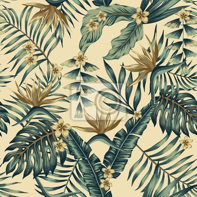 Fototapeta Tropikalne liście i złote kwiaty bezszwowe beżowym tle