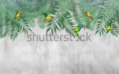 Fototapeta Tropikalne liście na wierzchu z latającymi papugami. Tłem jest tynk strukturalny.
