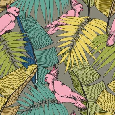 Fototapeta Tropikalne rośliny i papugi. Wektorowy bezszwowy wzór