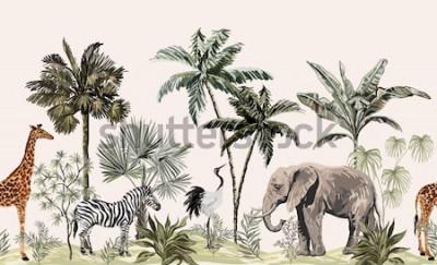 Fototapeta Tropikalny krajobraz botaniczny vintage, palma, roślina, liście palmowe, lenistwo, żyrafa, słoń, żuraw, zebra. Bezszwowe granica kwiatowy. Tapeta zwierząt dżungli.