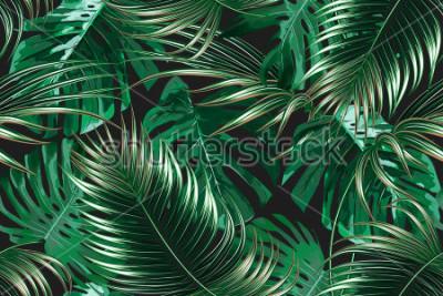 Fototapeta Tropikalny liści palmowych, dżungli liść medalion wektor wzór kwiatowy tło