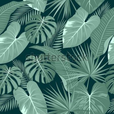 Fototapeta Tropikalny wektor wzór. Projekt botaniki, liście palmy i kwiaty w dżungli.
