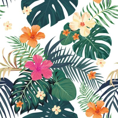 Fototapeta Tropikalny wzór bezszwowe białe tło
