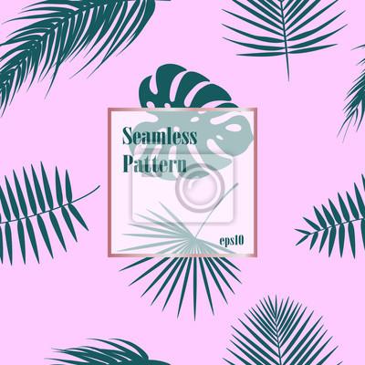 Tropikalny wzór, bezszwowe tło liści palmowych. Zielony wzór z liści palmowych na różowym tle.