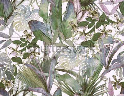 Fototapeta Tropikalny wzór z tropikalnych kwiatów, liści bananowca.