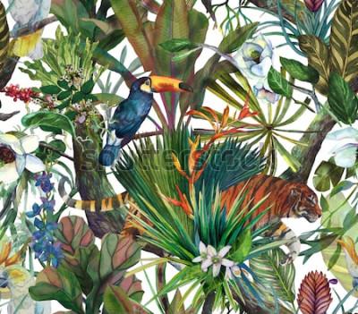 Fototapeta Tropikalny wzór z tygrysem i tropikalnymi kwiatami. Wzór z orchidei i dzikiego kota.