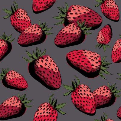 Fototapeta Truskawkowy bezszwowy wzór. Ilustracja wektorowa na szarym tle