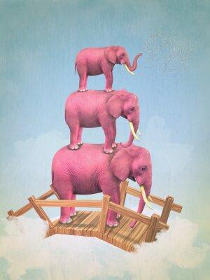 Fototapeta Trzy różowe słonie na niebie na moście. Ilustracja