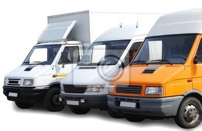 trzy samochody dostawcze