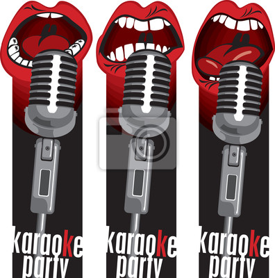 Trzy transparenty z śpiewając do mikrofonu ustami