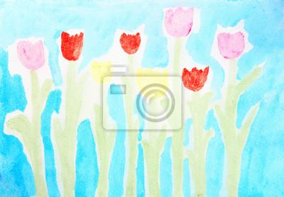 Tulipany. Abstrakcyjne kolorowe akwarele rysunek tła.