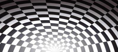 Fototapeta Tunel w szachy w kratkę streszczenie tle otworu