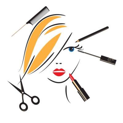 Fototapeta Twarz kobiety z makijażu akcesoria